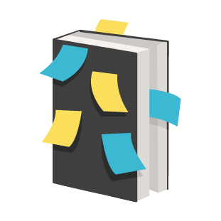 A grey book has blue and yellow sticky notes attached to its front cover, which is grey.